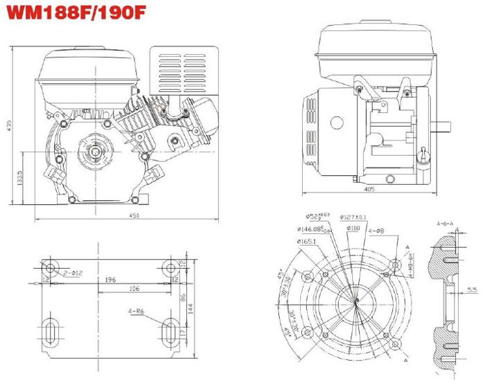 Установочные размеры двигателя Weima WM190FE-L